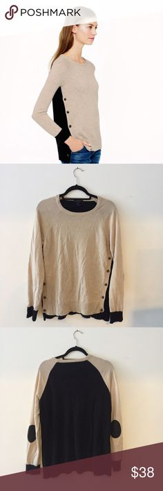 J Crew colorblock sweater Soft & cozy J Crew colorblock sweater. Tan in the front, black in the back with elbow patches and side buttons. Very soft, no flaws, worn less than 5 times J. Crew Sweaters Crew & Scoop Necks