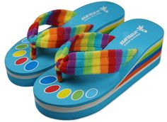 Bettyhome Women Non-slip Rainbow Comfortable Thongs Casual Wedges Sandals Beach Flip Flops Slippers (8 B(M) US=EUR 39, blue) ** Learn more by visiting the image link.