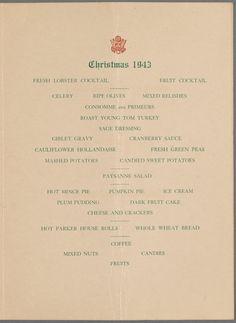Menu, Christmas Dinner, 1943: Officers' Club, Camp Myles Standish, Massachusetts