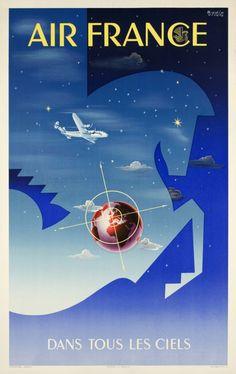 1951 Air France vintage travel poster