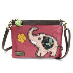 Chala Small Crossbody Phone Purse Adjustable Strap (Pink Elephant)