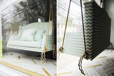 custom porch swing from Chairloom Backyard Inspiration, Home, Porch Swing, Finding A House, Outdoor Sofa, Swinging Chair, Outdoor Pavilion, Cool Furniture, Custom Porch