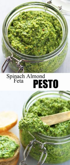 This flavorful pesto is made with spinach, almonds and feta cheese. With its coarse texture this pesto also makes a fantastic dip. Healthy Cooking, Healthy Eating, Cooking Recipes, Dips, Vegetarian Recipes, Healthy Recipes, Spinach And Feta, Vegan Spinach Pesto Recipe, Sauces