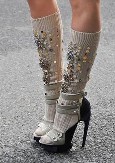 i dont usually like the whole sock with heels idea, but i LOVE this look.