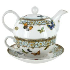 Blue Butterfly Porcelain Tea for One