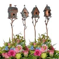 put birdhouses on branches, stakes for garden edge