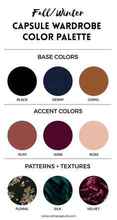 Create a Wardrobe Color Palette - VETTA - - This is part of our series on Building a Capsule Wardrobe. In this post, we'll be talking about creating a color palette for. Wardrobe Color Guide, Wardrobe Ideas, Closet Ideas, Wardrobe Closet, Work Wardrobe, Deep Autumn, Fall Color Palette, Color Palettes, Colour Pallete