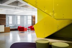 Department Do-Over: 2 NYC Agencies Get New Offices by BKSK #design #interiordesign #interiordesignmagazine #projects #offices Corporate Office Design, Corporate Interiors, House Painting Cost, Yellow Office, Lafayette Street, House Paint Interior, Workspace Design, Interior Design Magazine, Construction
