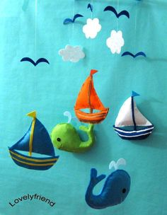 "Baby Mobile - Sailboats Crib Mobile - Handmade Nursery Mobile - ""five Little…"