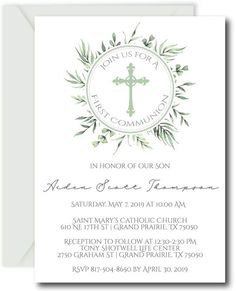 Greenery First Communion Invitations First Communion Invitations, Wedding Invitations, Invitation Card Design, Invitation Cards, Saint Mary Catholic, Communion Hairstyles, Church Banners, Party Planning, Envelopes