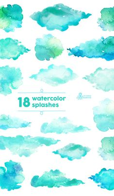 by OctopusArtis Watercolor Branding, Watercolor Brushes, Watercolor Texture, Watercolor Background, Abstract Watercolor, Watercolor Illustration, Watercolor Paintings, Green Colour Palette, Wallpaper Iphone Disney