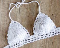 Crochet blanco Bikini Top - Top de Bikini Halter ganchillo - ganchillo sujetador Top - ganchillo Bralette - traje de baño de ganchillo - ganchillo triángulo Bikini Top