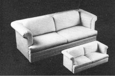 """Helen Dorsett (1985). Modern Sofa's in 1"""" and 1/2"""" Scales. Complete plans, patterns, and instructions, including a guide to working with upholstered pieces. In The Scale Cabinetmaker, Volume 9:3. Issue available as digital download from dpllconline.com. Issue price: $6."""