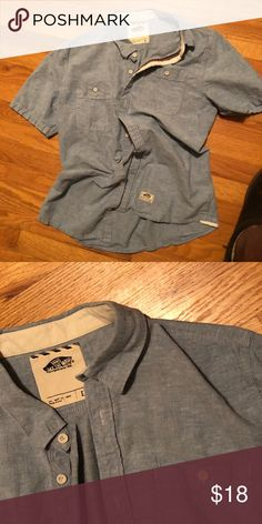 Vans SS Button Shirt • Chambray • Large • COOL 😎 Size large. Cool shirt, no defects.   I will make deals on bundles, just pile em up and lemme know.  Ralph Lauren Oakley Marmot Patagonia Gap Banana Republic Vans Shirts Casual Button Down Shirts