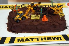 cute construction themed cake
