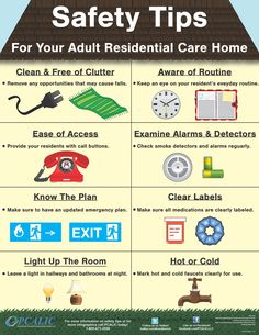 Safety Tips for your adult residential care homes and facili.- Safety Tips for your adult residential care homes and facilities Safety Tips for your adult residential care homes and facilities - Home Safety Tips, Safety Week, Understanding Dementia, Nursing School Prerequisites, Elderly Activities, Dementia Activities, Craft Activities, Dementia Care, Aging Parents