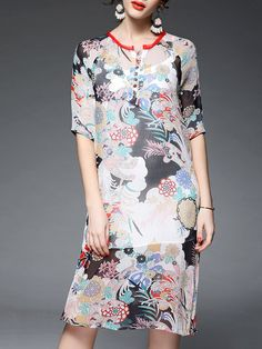 Multicolor Silk Vintage Midi Dress