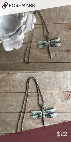 """Dragonfly Rhinestone Necklace I handmade this beautiful necklace with a green and rhinestone dragonfly pendant. It features an 18"""" brass ball chain necklace.  Always made with love, light and positive energy! Handmade Jewelry Necklaces"""