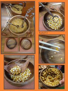 """Using fine motor skills to transfer popcorn kernels (and beads!) from Rachel ("""",)"""