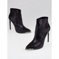 Pre-owned Yves Saint Laurent Black Leather Western Paris Ankle Boots (33,020 INR) ❤ liked on Polyvore featuring shoes, boots, ankle booties, short black boots, black leather boots, black leather bootie, high heel ankle boots and black cowgirl boots