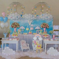 Unicorn Birthday Parties, Unicorn Party, Baby Birthday, First Birthday Parties, First Birthdays, Baby Shower Deco, Baby Shower Cakes, Baby Shower Themes, Cloud Party