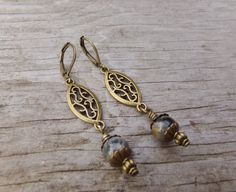 Luxe Harvest Antiqued Brass & Jade Earrings by McHughCreations, $12.00