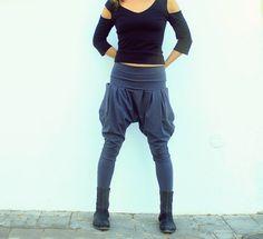 Pantalones Harem de las mujeres, pantalones gota-entrepierna, bolsillos de pantalones, pantalones de Yoga