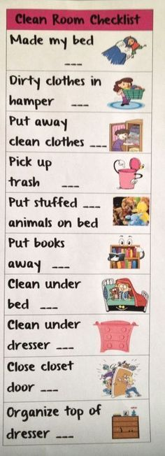 Clean room checklist for the kids! Laminate and use a dry erase. Kids have clean rooms! Clean room c Age Appropriate Chores, Charts For Kids, Kids Behavior, Behavior Charts, My New Room, Raising Kids, Kids And Parenting, Parenting Tips, Foster Parenting