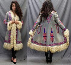 Vtg 70s Tibetan Lamb AFGHAN Embroidered Shearling SUEDE Hippie Boho COAT Jacket