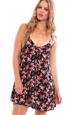 Deb Shops Rose Print Slip Dress with Spaghetti Straps $20.25
