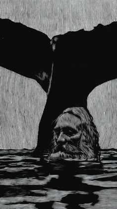 Barry Moser, Woodcut, The Sea Stopped Raging (Jonah and the Whale) Art And Illustration, Illustrations And Posters, Linocut Prints, Art Prints, Lino Art, Jonah And The Whale, Art Graphique, Wood Engraving, Woodblock Print