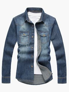 Long Sleeve Denim Shirt with Mid Wash in Extra Slim Fit - Milanoo.com