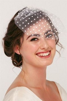 This sweet polka dot birdcage veil is the perfect choice for the vintage bride. Beautifully suited to a sweet style dress or a slinky classic gown, the Gwe Vintage Birdcage Veils, Bridal Hair Vine, 50s Vintage, Wedding Hair Accessories, Bridal Headpieces, Bird Cage, Flower Crown, Hair Pins, Wedding Hairstyles