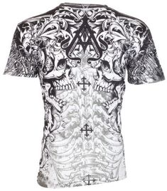 75f06056 Archaic AFFLICTION Men T-Shirt DEATH SHOUT Skulls Tattoo Biker MMA UFC M $40