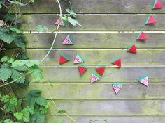 DIY Create a beautiful Hama bead bunting of watermelons.