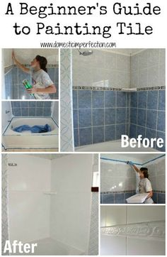 Is your home stuck with an ugly green or pink tile? Paint your title – yep, you can do that!. A beginners guide to painting tile plus Remodeled Bathroom Ideas | Inspiring Makeovers on a Budget on Frugal Coupon Living