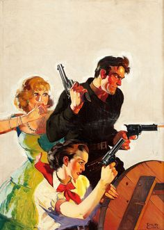Cowboy with Two Women, Action Stories 1935 pulp cover art by Emery Clarke man women woman dame gun guns pistol pistols revolver revolvers shooting danger