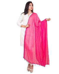 Fuschia Pink Color  Soft Chiffon Dupatta