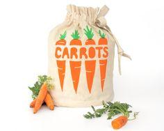 CARROTS: Eco-friendly hemp organic cotton reusable drawstring bag. Handmade kitchen housewares. Store fresh veggies. Small Size 3.. $33.59, via Etsy.