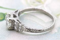 Art Deco Engagement Ring 1920s Engraved by FergusonsFineJewelry