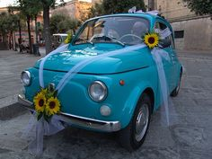 4. Something Blue    Perfectly, adorable car to drive up/away in! Just enough room for the happy couple! I believe it's an original Fiat 500    #modcloth #wedding