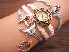 compass bracelet,anchor bracelet,helm bracelet,leather watch,watch bracelet,charm watch(L-245)