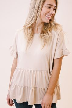 Flowy Shirts, Cute Summer Tops, Tiered Tops, Warm Weather Outfits, Summer Blouses, Clothes For Sale, Fall Clothes, Boutique Clothing, Clothing Company