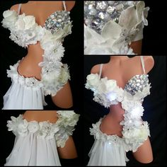 White Rose Monokini Outfit Rave Bra EDC Halloween Costume Rave Outfit Rave Top DIY