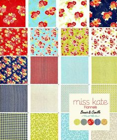 "Flannel Miss Kate Moda Charm Pack 42 Precut 5"" Squares, Bonnie and Camille #spiceberrycottage #flannel #ragblanket"