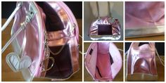 """Blingy Dog Carrier - Size S -Metallic pink & silver outside w/ plush velvety pink insides. Top zipper w/ mesh netting; side door which has double zipper & Velcro snap to hold open & mess netting. large zipper inside pocket; removable inner bottom cover. Top zipper has large silver metal fancy """"D"""" initial. I used it once on a flight with my tiny Yorkie. The back has 2 pucker looking flaws- see pic. Selling for $15 Cash only"""