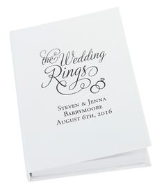 """This unique alternative to a traditional ring pillow is designed to look like a book. This ring book measures 4.25"""" x 6"""". With free personalization. $19.95"""