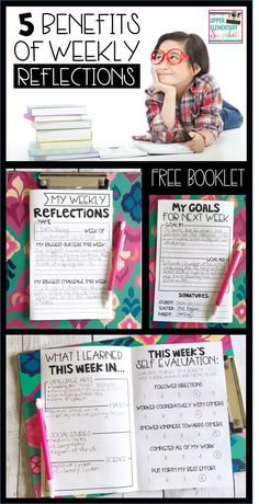 Weekly Reflections are a great way to get students to look back on their week to identify successes and challenges. Students can use their reflections to set further goals. They are perfect for sharing learning with parents. This free weekly reflections booklet works great in upper elementary classrooms!!