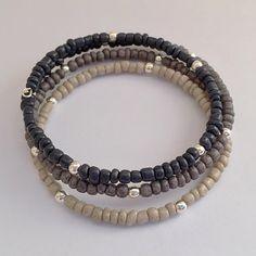 Black Ombre Bracelet Seed Bead Memory Wire by EverydayWomen