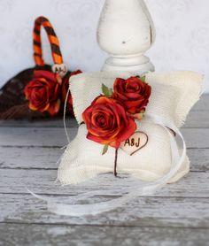 Rustic Fall Flower Girl Basket AND Ring Bearer Pillow SET